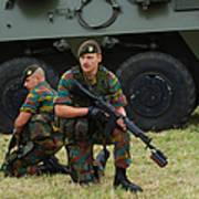 Soldiers Of An Infantry Unit Print by Luc De Jaeger