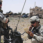 Soldiers Setting Up A Satellite Art Print