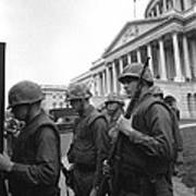 Soldiers Stand Guard Near Us Capitol Print by Everett