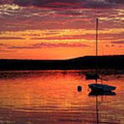 Solitary Sailboat At Sundown Art Print