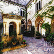 Southern Italy Villa Courtyard  Art Print