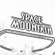 Space Mountain Sign Magic Kingdom Walt Disney World Prints Black And White Photocopy Art Print
