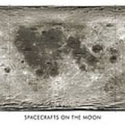 Spacecraft On The Moon, Lunar Map Art Print