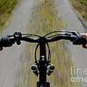 Speeding Mountain Bicycle Art Print