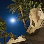 Sphinx And Date Palms With Full Moon Art Print