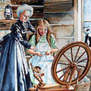 Spinning Wheel Lessons Art Print by Hanne Lore Koehler