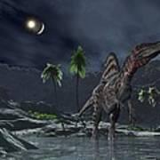 Spinosaurus Witnessing A Lunar Impact Art Print