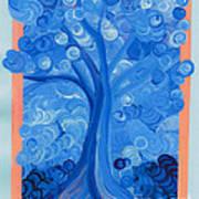 Spiral Tree Winter Blue Art Print