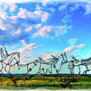 Spirit Warriors - Little Bighorn Battlefield Indian Memorial Art Print