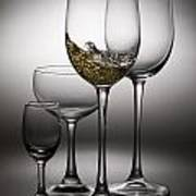 Splashing Wine In Wine Glasses Art Print