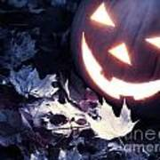 Spooky Jack-o-lantern On Fallen Leaves Art Print