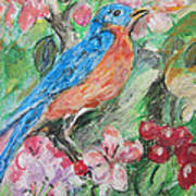Spring Bluebird Collage Art Print