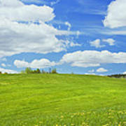 Spring Farm Landscape With Blue Sky In Maine Art Print