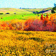 Springtime In The Golden Hills . 7d12402 Art Print