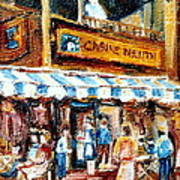 St. Denis And Prince Arthur Montreal Cafe Scene Art Print