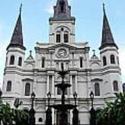St Louis Cathedral And Fountain Jackson Square French Quarter New Orleans Accented Edges Digital Art Art Print