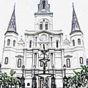 St Louis Cathedral And Fountain Jackson Square French Quarter New Orleans Colored Pencil Digital Art Art Print