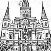 St Louis Cathedral And Fountain Jackson Square French Quarter New Orleans Photocopy Digital Art Art Print