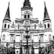St Louis Cathedral And Fountain Jackson Square French Quarter New Orleans Stamp Digital Art Art Print