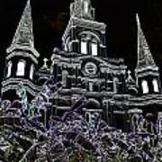 St Louis Cathedral Rising Above Palms Jackson Square New Orleans Glowing Edges Digital Art Art Print