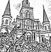 St Louis Cathedral Rising Above Palms Jackson Square New Orleans Photocopy Digital Art Art Print by Shawn O'Brien