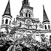 St Louis Cathedral Rising Above Palms Jackson Square New Orleans Stamp Digital Art Art Print