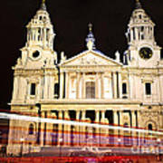 St. Paul's Cathedral In London At Night Art Print
