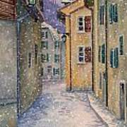St Ursanne In Snow Art Print by Scott Nelson