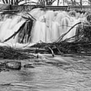 St Vrain River Waterfall Slow Flow Bw Art Print