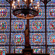 Stained Glass At Notre Dame Cathedral Art Print