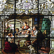 Stained Glass Family Giving Thanks Art Print