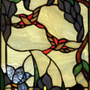 Stained Glass Humming Bird Vertical Window Art Print by Thomas Woolworth