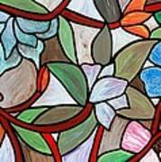 Stained Glass Wild  Flowers Art Print