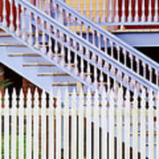 Stairs And White Picket Fence Art Print