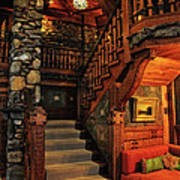 Stairway In Gillette Castle Connecticut Art Print