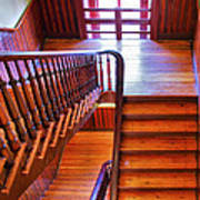Stairway In Old Naval Hospital Print by Steven Ainsworth