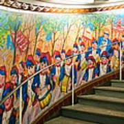 Stairway Mural At Montmartre Metro Exit Art Print