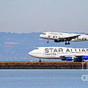 Star Alliance Airlines And Frontier Airlines Jet Airplanes At San Francisco Airport . Long Cut Art Print