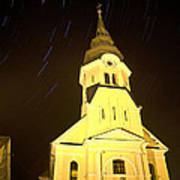 Star Trails Behind Vodice Church Art Print