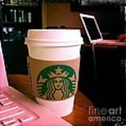 Starbucks And Computers Art Print
