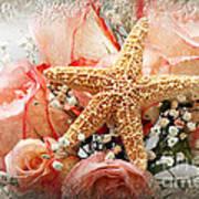 Starfish And Pink Roses Art Print