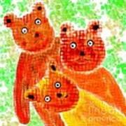 Stargazing Teddy Bears Art Print