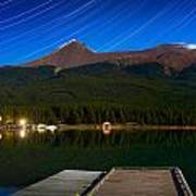 Starry Night Of Mountains And Lake Art Print