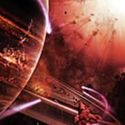 Starships Hone Their Skills Art Print