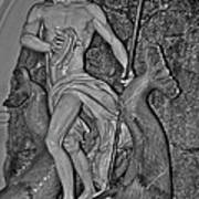 Statue 17 Black And White Art Print