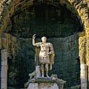Statue De L'empereur Auguste Dans Le Theatre D'orange. Art Print by Bernard Jaubert