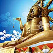 Statue Of Big Buddha On Blue Sky. Art Print