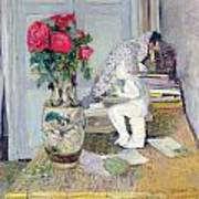 Statuette By Maillol And Red Roses Art Print