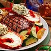 Steak And Lobster Art Print