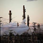 Steam Plumes At Oil Refinery Art Print by Hal Bergman